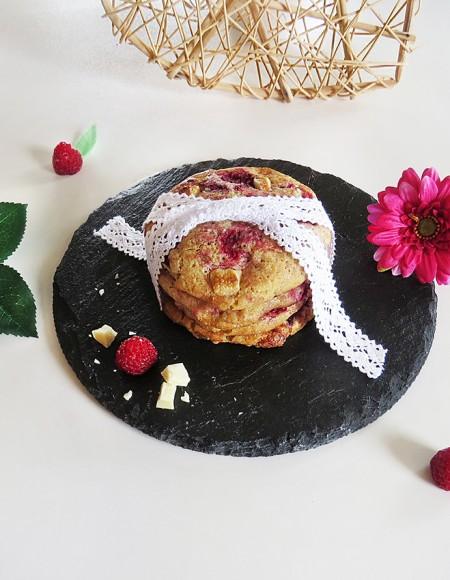 Cookies chocolat blanc-framboises