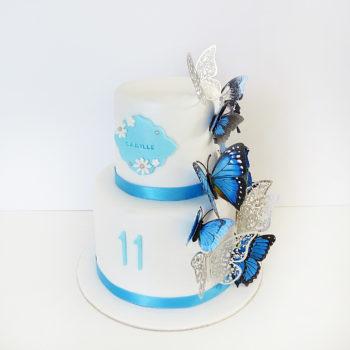 gateau papillons bleu