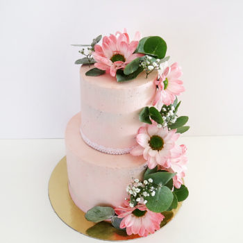 gateau rose fleurs