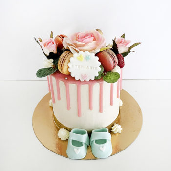 Dripped cake rose fleurs